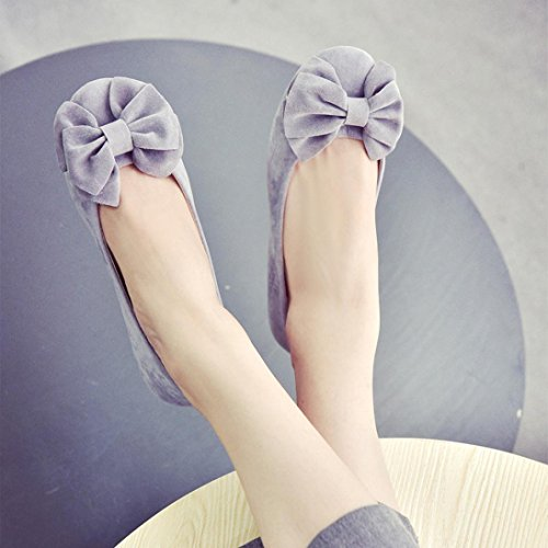 Flats Work Shoes Lazy Gray Women on Leisure Ladies Loafers Comfort Bowknot Casual Shoes Slip Transer tqOHfvwxO