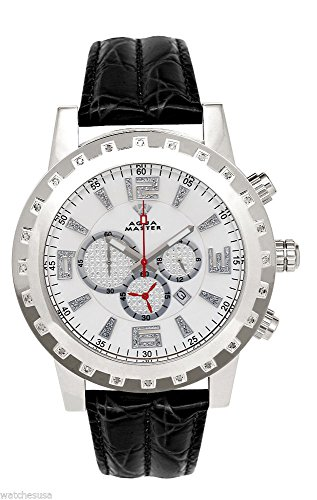 Aqua Master Men's Silver-tone Case Diamond Bezel Black Leather Band Chronograph Watch (Aqua Master)