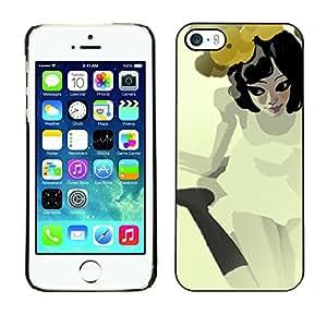 """For Apple iPhone 5 / 5S Case , Muchacha Bonita Flores Amarillo Vestido Blanco Dulce"""" - Diseño Patrón Teléfono Caso Cubierta Case Bumper Duro Protección Case Cover Funda"""