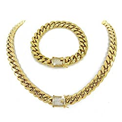 Gold Plated Diamond Chain and Bracelet Set
