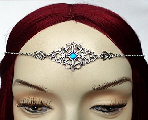 [Sapphire Blue Elven Silver Filigree Circlet Headpiece] (Elf Maiden Costume)