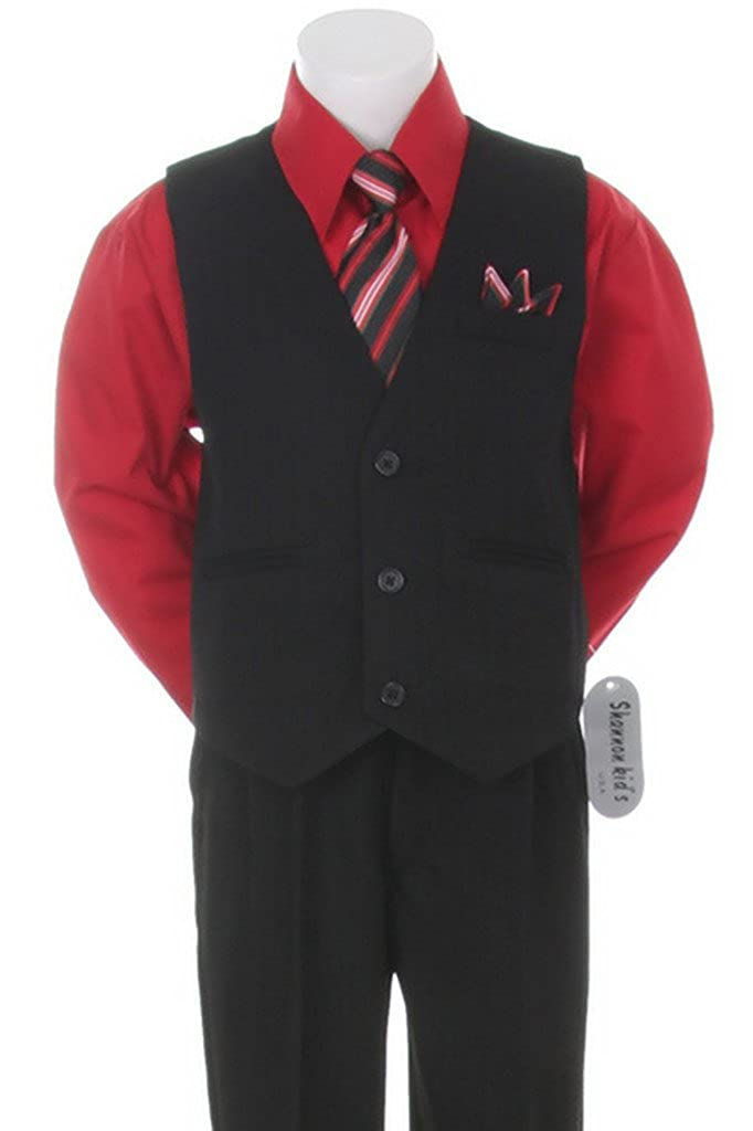 Stylish Dress Suit Outfit Pant,Vest & Tie Set-Baby Boys through Size 7-Black/Red