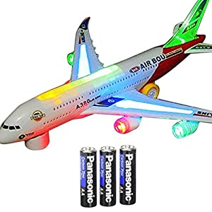 Toysery Airplane Airbus Toy With Beautiful Attractive Flashing Lights and Realistic Jet Engine Sounds , Bump and Go Action Battery Included (Colors May Vary)