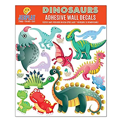 JesPlay Dinosaurs Adhesive Wall Decals Wall Décor Stickers for Kids & Toddlers Include TRex, Raptor, Triceratops & More - Removable Wall Decor for Bedroom, Living Room, Nursery, Classroom: Toys & Games