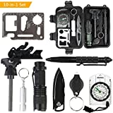 Outdoor Survival kits, 10 in 1 Multi-Purpose Emergency Survival tools with ...