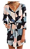 ETCYY Women's Long Sleeve V Neck Button Printed Short Casual Dress With Belt,White,Small