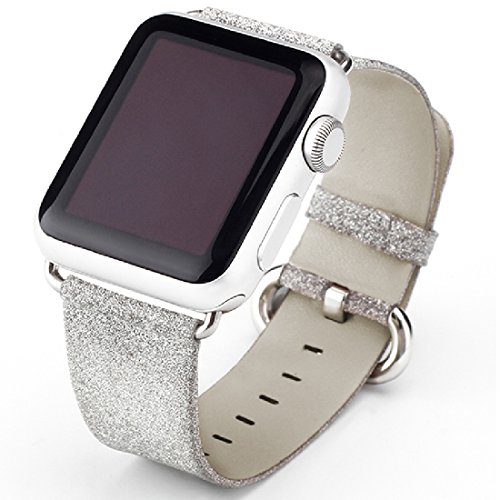 Price comparison product image Apple Watch Band, iitee Glitter Bling Replacement Leather Bracelet for Apple Watch Series 3 Series 2 Series 1 (Silver 42mm)