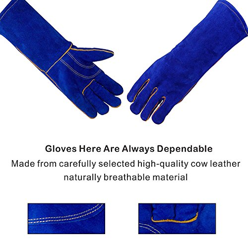 KIM YUAN Leather Welding Gloves - Heat/Fire Resistant, Perfect for Gardening/Oven/Grill/Mig/Fireplace/Stove/Pot Holder/ Tig Welder/Animal Handling/BBQ - 14inches by KIM YUAN (Image #4)