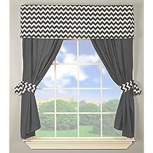 BabyDoll Chevron Window Valance and Curtain Set, Grey