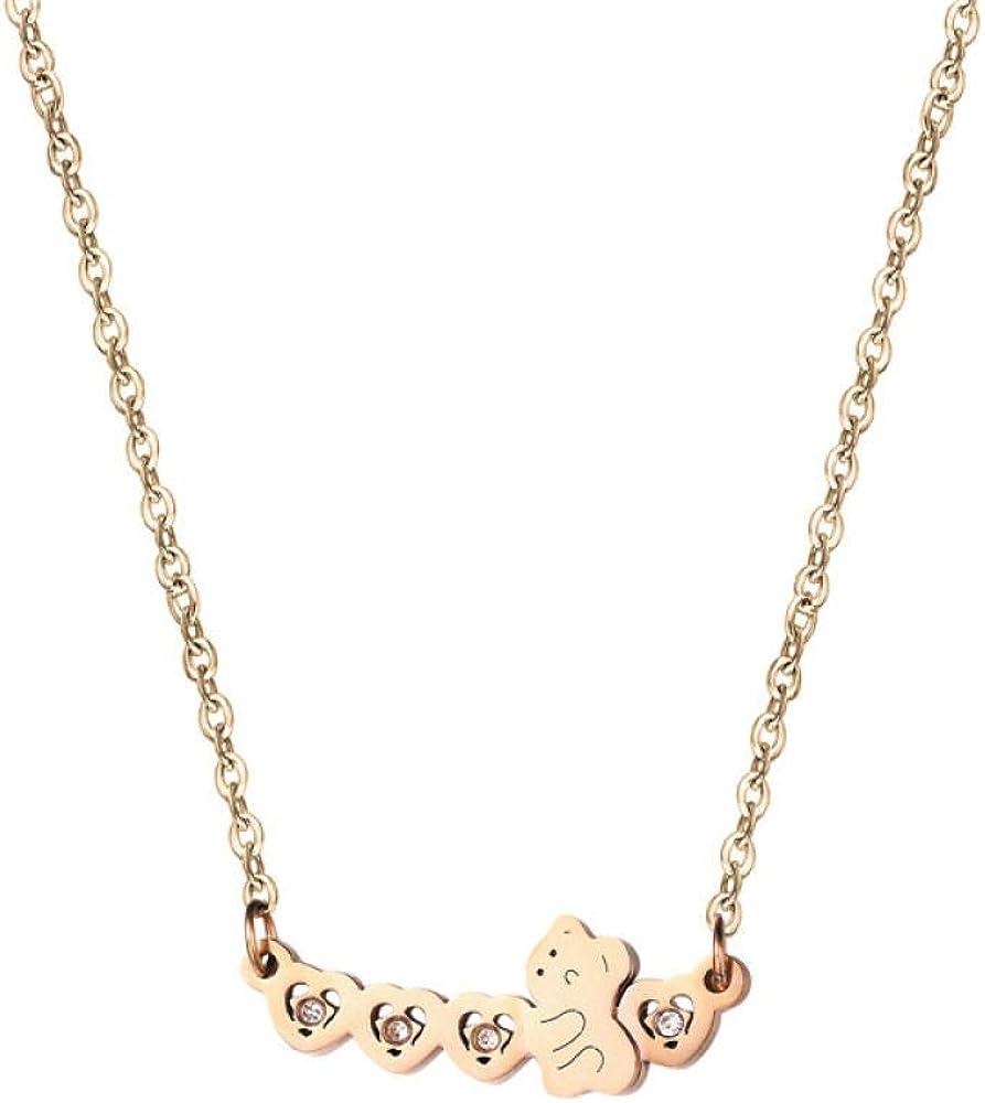 Collar Moda Oso Salvaje Columpio Columpio Collar de Oro Rosa Collar de Mujer, Longitud de la Cadena: 40 + 5 cm