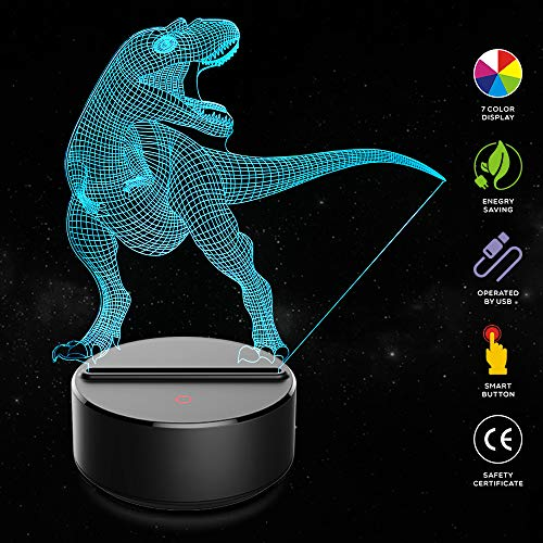 Dinosaur 3D Night Light Jurassic Velociraptor Projection LED Lamp Baby Nursery Nightlight for Kids' Room Home Décor Xmas Birthday Gifts with 7 Color -