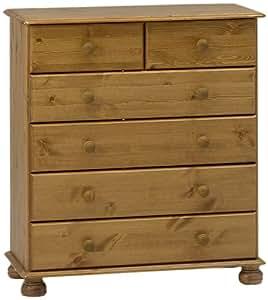 Non Branded 10221334 - Cómoda de madera de pino con 4 cajones grandes y 2 cajones pequeños