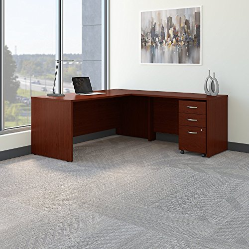 Bush Business Furniture Series C 72W L Shaped Desk with 48W Return and Mobile File Cabinet in Mahogany