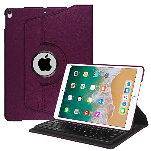 Fintie iPad Pro 10.5 Keyboard Case - 360 Degree Rotating Stand Cover with Built-in Wireless Bluetooth Keyboard for Apple iPad Pro 10.5 inch 2017, Purple