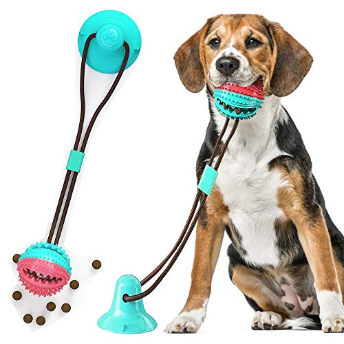 PLYFUNS Upgraded Suction Cup Dog Toy – Molar Bite Interactive Dog Toy with Durable Rope and Suction Cup for Pulling/Chewing/Teeth Cleaning