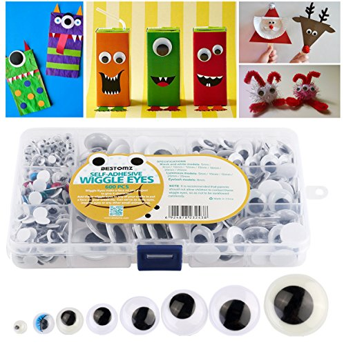 BESTOMZ Googly Eye Assorted 600 Pcs Wiggle Eyes Pack Self Adhesive with Storage Box for Creative Crafts Decorations