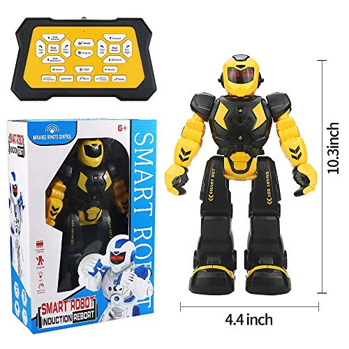 Suliper Remote Control RC Robot for Kids,Intellectual Gesture Sensor Programmable Robot with Infrared Controller Early Education Robot Toys can Dance Sing Walk Slide Robot Kits for Children ()