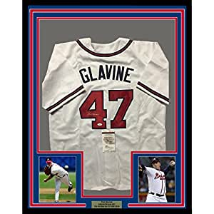 Framed Autographed/Signed Tom Glavine 33x42 Atlanta Braves White Baseball Jersey JSA COA