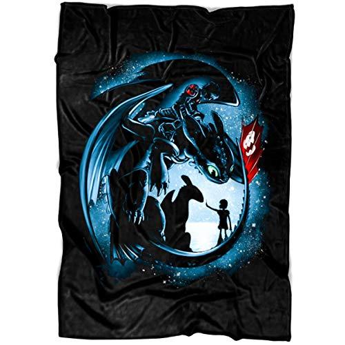 LEXIGSTORE Dragon Ball Z Soft Fleece Throw Blanket, Dragon Toothless Colorful Sky Night 3D Fleece Luxury Blanket (Medium Blanket (60