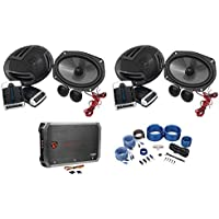 (2) Pairs Rockville RV69.2C 6x9 Component Car Speakers+4-Channel Amp+Wire Kit