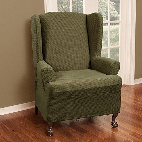 Maytex Stretch Reeves 1 Piece Wing Chair Slipcover  Dark Sage