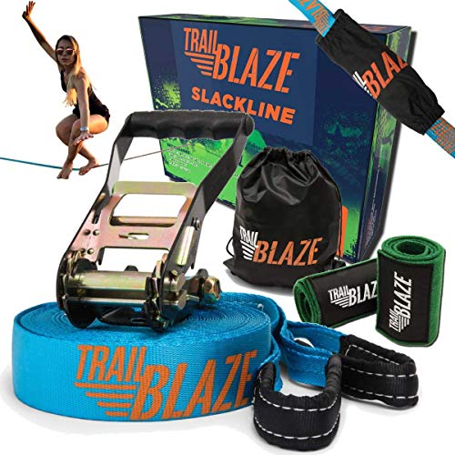 (Trailblaze Premium Slackline Kit - Tree Protectors Ratchet Cover + Strong Carry Bag - Slack Lines for Backyard Ideal for All Levels - Ninja Tight Rope for Trees Easy Setup 50 ft - Outdoor Healthy Fun)