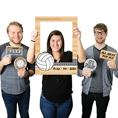 Bump, Set, Spike - Volleyball - Birthday Party or Baby Shower Selfie Photo Booth Picture Frame & Props - Printed on Sturdy Material ()