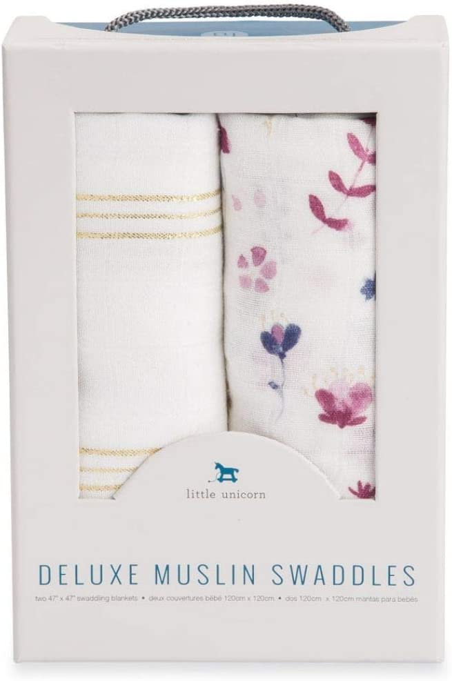 """Pink Ladies Set Little Unicorn Deluxe Muslin Baby Swaddle 47x47 2 Pack /""""Gift Set/"""""""