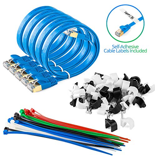 Maximm Cat7 Flat Ethernet Cable, 1.5 Feet Blue [5 Pack] Pure Copper RJ45 Gold-Plated Connectors. 600 MHz, for Computers Network Components