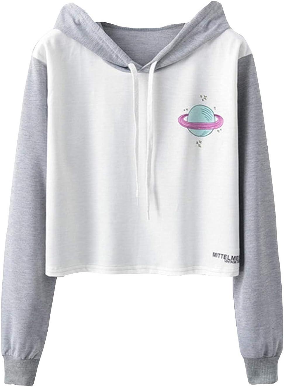 Teen Girls Cute Sweatshirts Printed Jacket Crop Top Cropped Hoodie Pullover Jumper Sweater Tops Clearance Sale