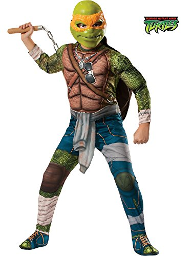 Teenage Mutant Ninja Turtles Halloween Costumes (Rubies Teenage Mutant Ninja Turtles Deluxe Muscle-Chest Michelangelo Costume, Child Medium)