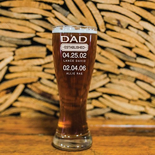 Custom Dad Beer Glass Fathers Day Gift Established Date Pilsner Glass, Pint Glass, Beer Mug with Handle