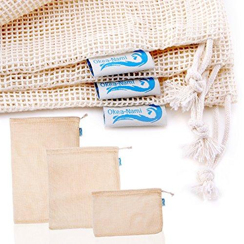 Okeanamis Reusable Produce Bags, Cotton Mesh, Set of 10, Small Medium Large