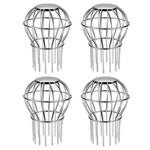 (Gutter Guard 3 Inch 304 Stainless Steel Filter Strainer, Stops Leaves Seeds and Other Debris Gutter Cleaning Tool - 4 Pack)