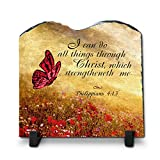 Cheap I Can Do All Things Through Christ Philippians 4:13 (Tablet Shape 7.8X7.8, KJV)| Superior Religious Inspirational Home Décor By InspiraGifts Slate | Christian Home Plaque Stone Gift