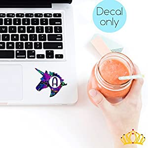 Letter A Monogram Unicorn Decal for Yeti Cup, Tumbler, Laptop, or Car - 3 inch height