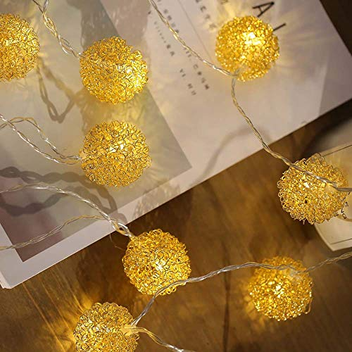 - NXDA Wrought Iron Gold Wire Ball Fairy String Lights Wedding Bedroom Patio Decorative Lamp Digital Light (5, Plug-in Model)