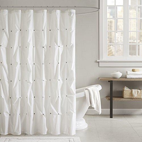 (Ink+Ivy Masie Cotton Shower Curtain 72x72 White, 72 x 72,)