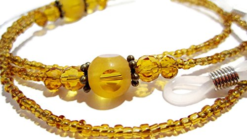 ATLanyards Amber Dots Beaded Eyeglass Chain - Glass Beaded Eyeglass - Amber Eyeglasses