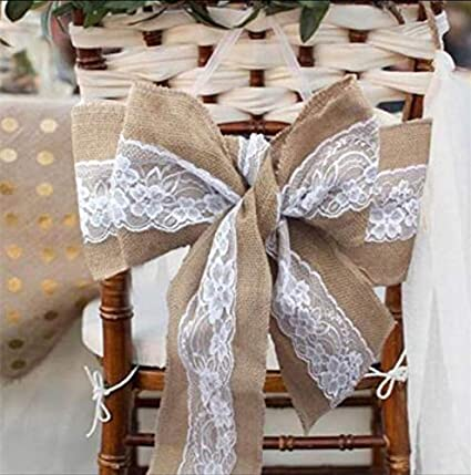 Super Amazon Com Boyspringg Burlap Hessian With White Lace Sashes Ncnpc Chair Design For Home Ncnpcorg