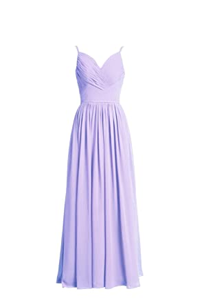 YiYaDawn Womens Long Chiffon Bridesmaid Dress Cocltail Prom Dress Size 20 UK Lavender