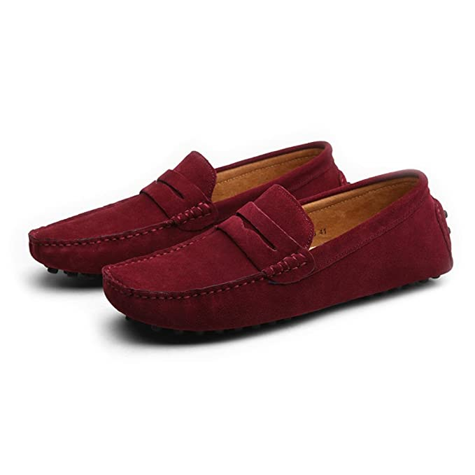 Amazon.com: MUMUWU Mens Driving Penny Loafers Suede Genuine Leather Casual Moccasins Slip-On Boat Shoes Up to Size 12 MUS Dress Shoes (Color : Wine, ...