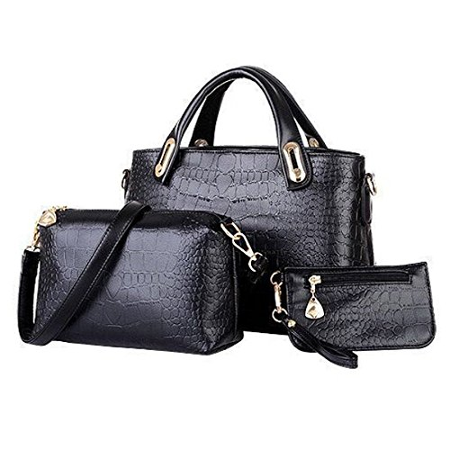 Women Handbag,Women Bag, Shoulder Bag Purse KINGH 3 Piece Tote Vintage Style PU Leather 021 Black