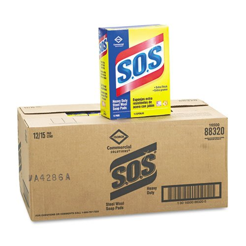 S.O.S. Steel Wool Soap Pad - 12 boxes of 15 pads each.