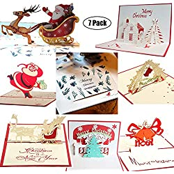 3D Christmas Cards Pop Up Greeting Holiday Cards Gifts Handmade 7 Pack Cards & Envelopes (Basic version)