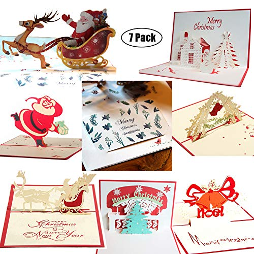 (3D Christmas Cards Pop Up Greeting Holiday Cards Gifts Handmade 7 Pack Cards & Envelopes (Basic version))