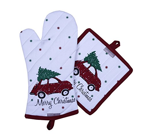 Pot Holders and Oven Mitts, Unique Merry Christmas Design, Heat Resistant, Made of 100% Cotton, Eco-Friendly & Safe, Set of 1 Oven Mitt and 1 Pot Holder, Pot Holders and Oven Mitts Sets By CASA DECORS