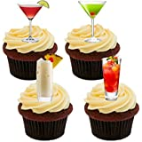 Cocktails Edible Cupcake Toppers - Stand-up Wafer Cake Decorations by Made4You