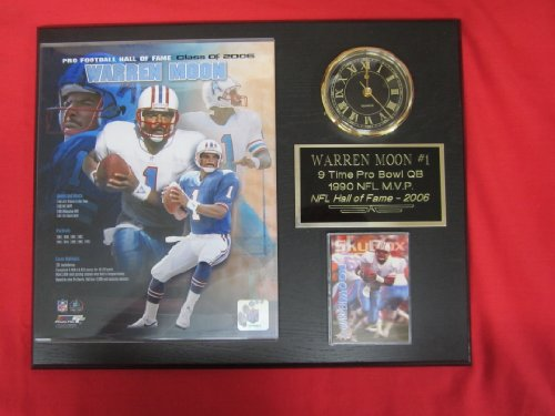 Warren Moon Houston Oilers Collectors Clock Plaque w/8x10 Photo and Card