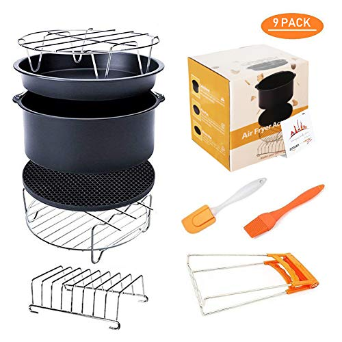 Deep Fryers Universal Air Fryer Accessories Including Cake Barrel,Baking Dish Pan,Grill,Pot Pad, Pot Rack with Silicone Mat by Bellagione (9 Pcs 8inch)